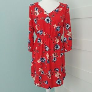 NWT Skies Are Blue Bronwyn Red Floral Dress